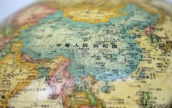 中国・地球儀