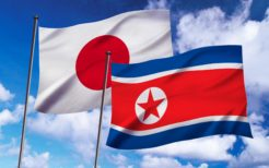 日本国旗と北朝鮮国旗