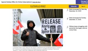 恣意的な逮捕で人質外交だと批判するカナダ