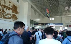 丹東駅2階の国際列車乗り場