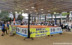 靖国神社相撲場の上に設置されたリング