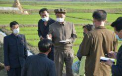 マスクを着用して現地視察する金徳訓首相
